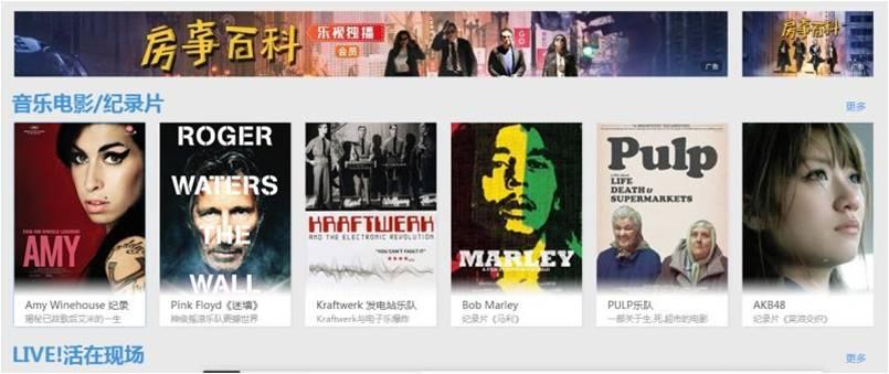 乐视网页端音乐电影板块上方banner强力推荐