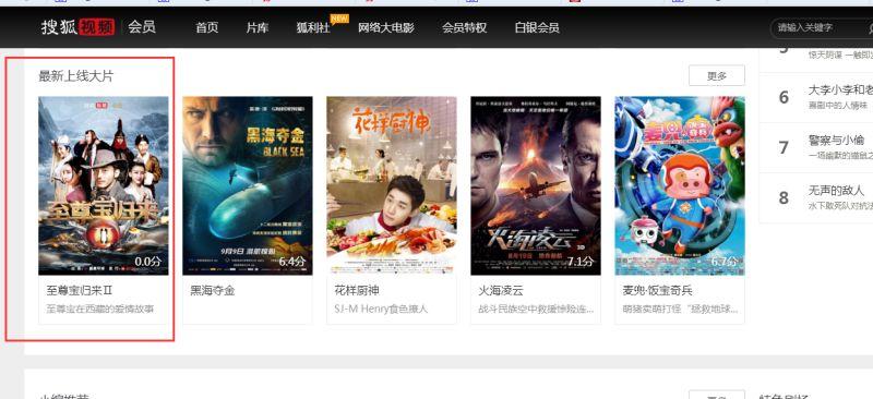 搜狐会员频道最新上线大片推荐