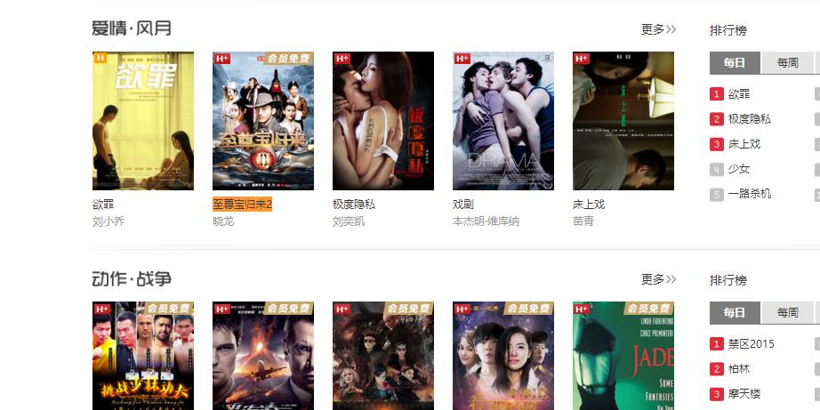 搜狐电影频道爱情风月分类推荐